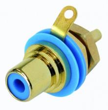Cinch (RCA) Einbaubuchse mit vergoldeten Kontakten, Lötanschlüssen, Isolationsring blau