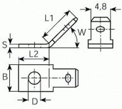 Steckzunge abgewinkelt 4.8 x 0.8mm, mit Befestigungsloch, Messing verzinnt