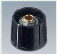 Drehknopf ⌀20mm, 6mm abgesetzt, schwarz mit Markierung