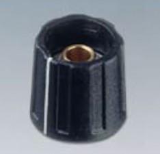 Drehknopf ⌀13.5mm, 6mm abgesetzt, schwarz mit Markierung