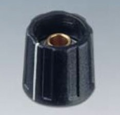 Drehknopf ⌀16mm, 4mm durchgehend, schwarz mit Markierung