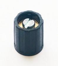 Drehknopf ⌀16mm, 6mm abgesetzt, schwarz ohne Markierung