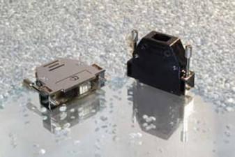 D-Sub Steckergehäuse, mit geradem und seitlichem Kabelausgang, UNC4-40, metallisiert, 25 Polig