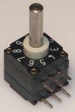 Miniatur-Codierschalter für Leiterplatten BCD, 10 Raststellungen, unterbrechend non c/c, ohne Achse, Horizontal