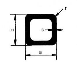 Vierkant-Rohre L: 1m, Extrudal-050, 50 x 50 x 2 mm