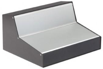 Pult-Gehäuse schwarz-schwarz, Kunststoffbeschichtet / Skinplate, 216 x 300 x 128 x 40 mm