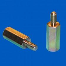 Abstandsbolzen M2.5x15, Stahl gelb-chromatiert