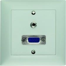 Unterputz-Montageset 1x VGA Durchführung f/f, (15pol. D-Sub HD) + 1 x 3,5 mm Klinkenbuchse, stereo, Lötanschluss, Abdeckrahmen aus Kunststoff